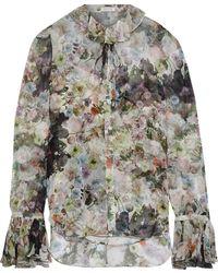 Adam Lippes Tie-neck Floral-print Silk-chiffon Blouse Multicolour