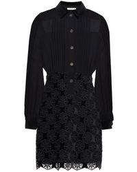 Sandro Nevy Broderie Anglaise-paneled Pintucked Chiffon Mini Dress - Black