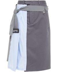 Maison Margiela Panelled Belted Cotton-twill And Shell Skirt - Blue