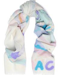 COACH - Flocked Printed Wool Scarf - Lyst