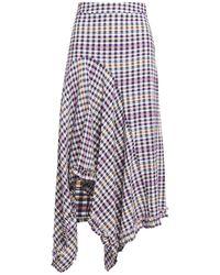 Hofmann Copenhagen Juliane Asymmetric Gingham Seersucker Skirt Violet - Purple