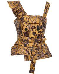 Marissa Webb - Woman Belted Ruffled Brocade Top Multicolour - Lyst
