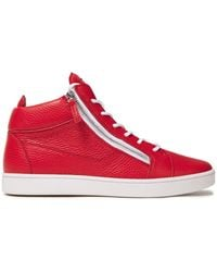 Giuseppe Zanotti Pebbled-leather High-top Sneakers - Rot