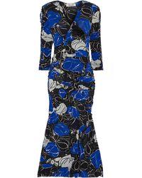 Diane von Furstenberg Briella Ruched Printed Stretch-mesh Midi Dress Royal Blue