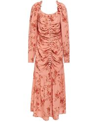 Mother Of Pearl Ruched Floral-print Crepe Midi Dress Antique Rose - Pink