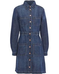 7 For All Mankind 7 For All Kind Denim Mini Shirt Dress Dark Denim - Blue