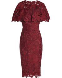 Lela Rose - Ruffled Guipure Lace Dress - Lyst