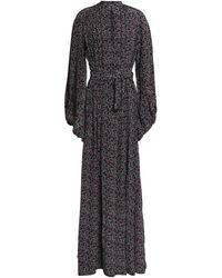 Talitha Cutout Printed Silk Maxi Dress - Black