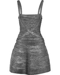 Hervé Léger - Faith Metallic Bandage Mini Dress - Lyst