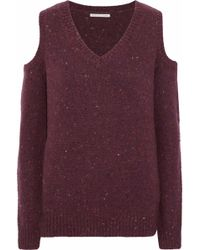 Rebecca Minkoff - Woman Page Cold-shoulder Marled Merino Wool-blend Jumper Burgundy - Lyst