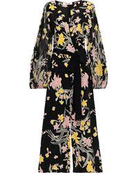 Diane von Furstenberg Delphi Wrap-effect Floral-print Chiffon And Silk Crepe De Chine Jumpsuit Black