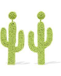Kenneth Jay Lane - Beaded Earrings Light Green - Lyst
