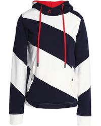 Perfect Moment - Embroidered Striped Cotton-terry Hooded Sweatshirt - Lyst