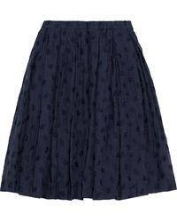 Mansur Gavriel Sur Gavriel Pleated Embroidered Linen-blend Skirt Midnight Blue