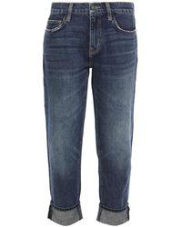 Current/Elliott The Fling Cropped Distressed Mid-rise Slim-leg Jeans Dark Denim - Blue