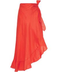 Miguelina Asymmetric Ruffle-trimmed Linen Wrap Skirt Papaya - Red