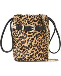 IRO Belty Leather-trimmed Leopard-print Calf Hair Bucket Bag Animal Print - Multicolour