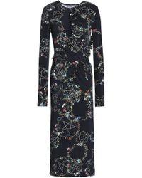 Preen By Thornton Bregazzi - Ruffle-trimmed Ruched Crepe Midi Dress - Lyst