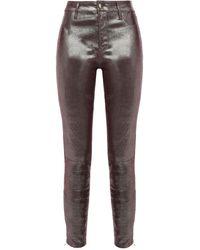J Brand L8001 Metallic Lizard-effect Leather Skinny Trousers - Multicolour