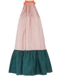 ROKSANDA - Gathered Color-block Silk-twill Mini Dress - Lyst