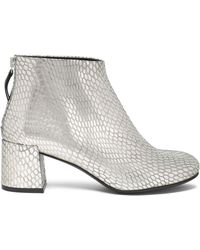 McQ - Metallic Snake-effect Leather Ankle Boots - Lyst