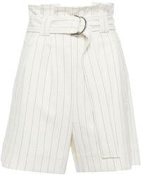 Ganni Shorts aus crêpe mit glencheck-muster, falten und gürtel - Weiß