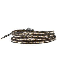 Chan Luu - Silver-tone Beaded Leather And Cord Wrap Bracelet - Lyst