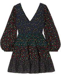 RIXO London Sasha Shirred Tiered Floral-print Modal Mini Dress Black