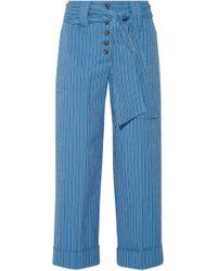 Tory Burch - Robin Pinstriped Cotton-blend Seersucker Culottes - Lyst
