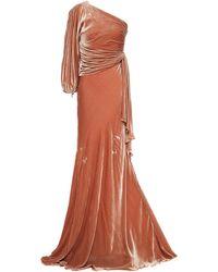 Maria Lucia Hohan Drapierte robe aus samt mit asymmetrischer schulterpartie - Mehrfarbig