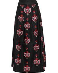 Antik Batik Carmo Embroidered Cady Maxi Skirt Black