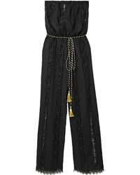 Miguelina Naima Guipure Lace-paneled Embroidered Cotton Jumpsuit - Black