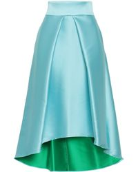MILLY Flared Pleated Duchesse-satin Skirt Sky Blue