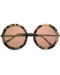 Sunday Somewhere - Round-frame Tortoiseshell Acetate Mirrored Sunglasses - Lyst