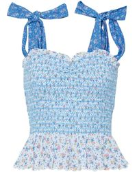 LoveShackFancy Bucky Smocked Floral-print Cotton-jacquard Top - Blue