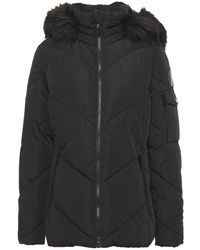 DKNY Faux Fur-trimmed Quilted Shell Hooded Jacket - Black