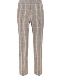 Maje - Woman Checked Woven Tapered Pants Gray Size 36 - Lyst