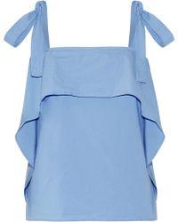 Paul & Joe - Ruffle-trimmed Cotton-blend Poplin Top Sky Blue - Lyst