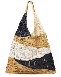 M Missoni Tote Bag Aus Raffiabast-imitat In Colour-block-optik - Natur