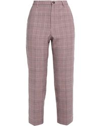 Ganni Cropped Prince Of Wales Checked Woven Slim-leg Trousers - Multicolour