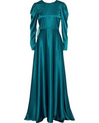 ROKSANDA Tala Bow-embellished Two-tone Silk-satin Gown Teal - Blue