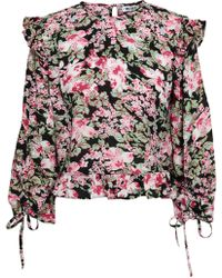 W118 by Walter Baker Cropped Floral-print Crepe Top Black
