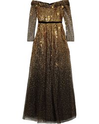 Marchesa notte Off-the-shoulder Embellished Metallic Tulle Gown Gold