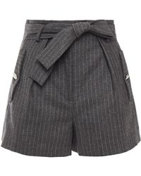 Maje Shorts aus einer woll-kaschmirmischung mit nadelstreifen und gürtel - Grau