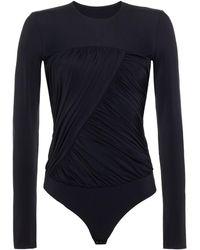 MM6 by Maison Martin Margiela Ruched Printed Two-tone Stretch-jersey Bodysuit - Black