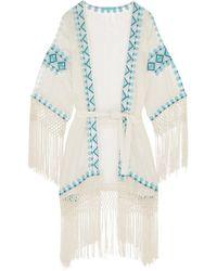 Melissa Odabash Dana Embroidered Voile Coverup White