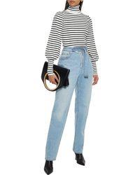 A.L.C. Karla Striped Ribbed-knit Turtleneck Jumper - White