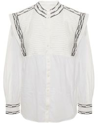 Ba&sh Embroidered Pintucked Voile Shirt - White