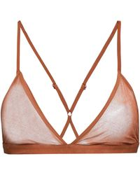 Skin Odelyn Cotton-mesh Soft-cup Triangle Bra Camel - Multicolour