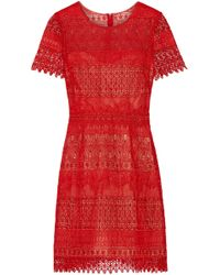 Marchesa notte - Guipure Lace Mini Dress - Lyst